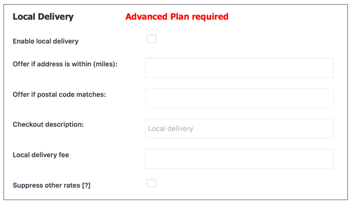 Option for Local Delivery