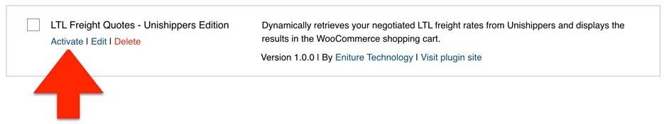 Unishippers WooCommerce Activate Plugin 2